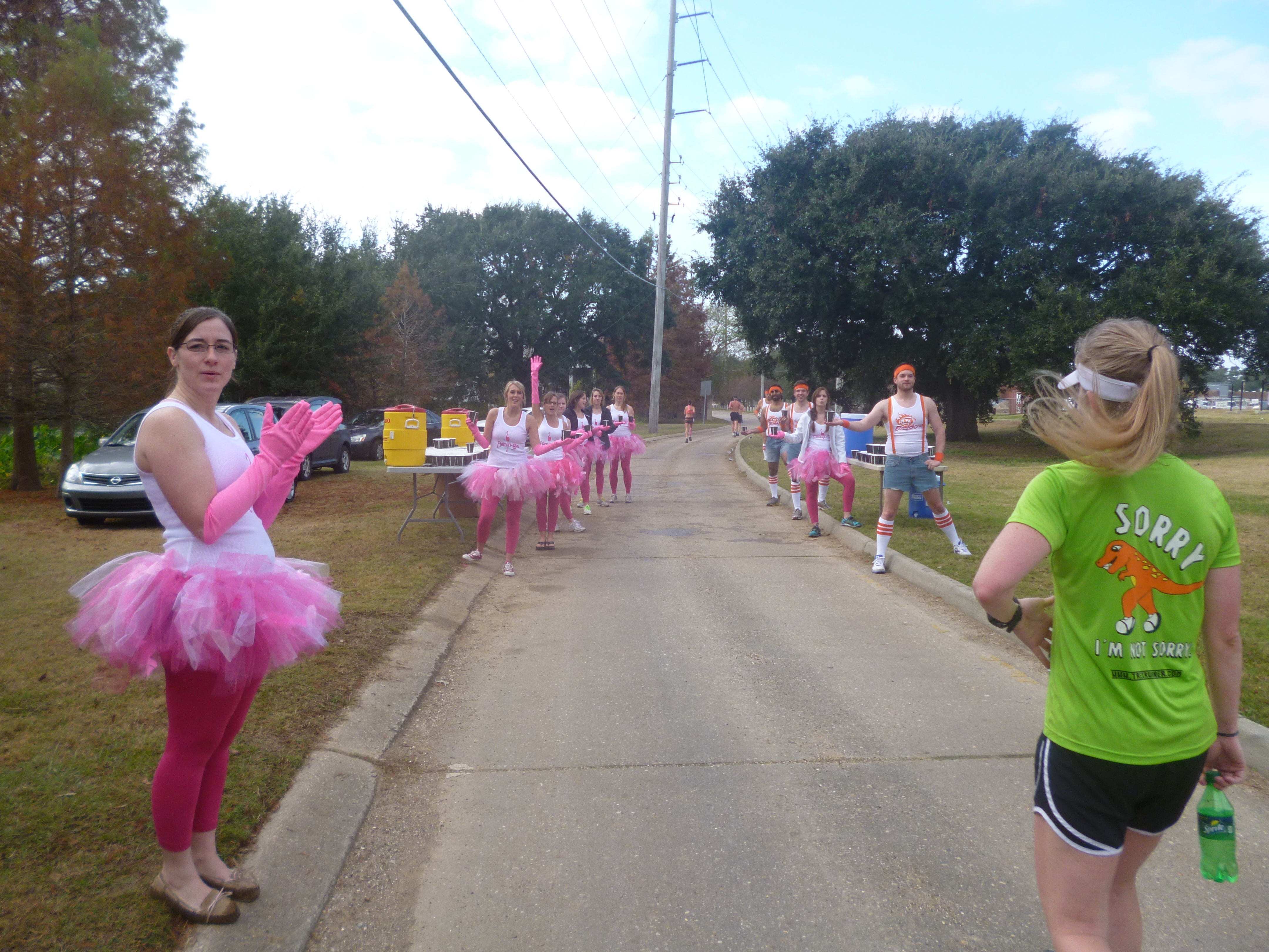 And the award for best water stop goes to the people in tutus, jorts, and suspenders.