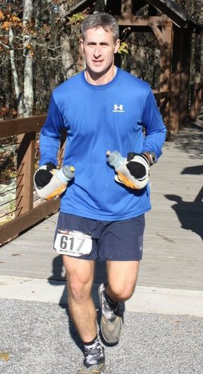 """I'll add """"general upper body weakness that is insufficient for double fisting water bottles"""" to my list of reasons why I'll probably never run 100 miles. Btw, this is Dan at mile 41 of the Pinhoti 100."""